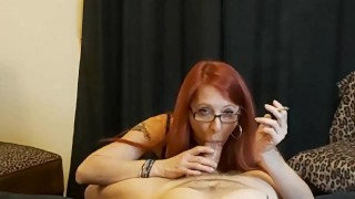 Smoking MILF Gets Glasses Covered in Cum
