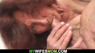 Horny old mother-in-law rides his dick
