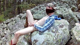 Redneck Boy in Woods Fucking his Brains Out and Squirts on Huge Boulder Wearing Cowboy Boots