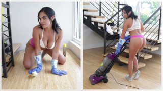 BANGBROS - Hot Latina Maid Selena Santa Polishes Bruno Dickemz's Knob