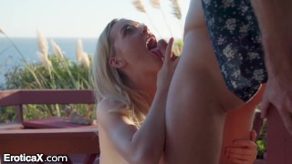 EroticaX - Hot Wife Fucks Other Man Outside At Swinger's Resort