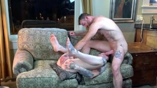 Tatted boy gets fucked, rimmed, used by tatted guy in hotel