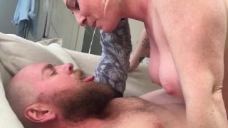 Hairy Amateurs Fuck in Airbnb and Swap Spit