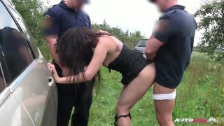 Hot brunette double drilled by city guards