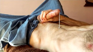 Hot Guy Can't Stop Moaning While Cumming - 4K Male Masturbating
