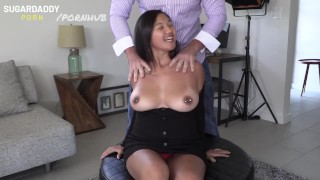 Thick Asian fucking enormoustits bounces all over daddy'porno dick!