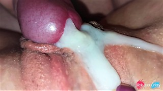Cock rubbing pussy with a huge cumshot very close up