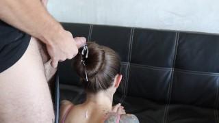 Cumming on donut hair bun Cum on long silky hair