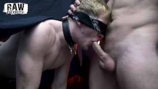 RawFuckBoys - Hairy hung stud fucks blond jock's mouth blindfolded