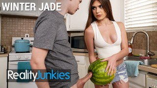 Reality Junkies - Kinky Step sister Winter Jade walks in on Step bro and his Huge Cock