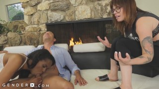 GenderX - Trans Lesbian Needs Some Dick, Fucks Other Man In Front Of GF