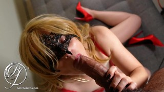 I sloppy mouthfuck the sexy blonde MILF next door in sexy lingerie spit fuck fetish close up
