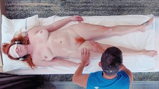 Long Sensual Big Boobs Redhead MILF Oil Massage Ends in Hairy Pussy Creampie Licking | Ginger Ale