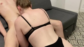 First fuck in my new apartment (sloppy bj and sitting on cock)