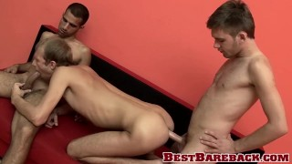 Threesome jock pounding ends with delicious cum swallowing