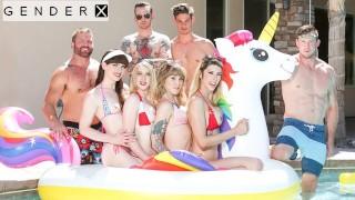 Dick Flopping Transgender Orgy In Pool - GenderX