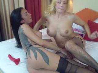Vittoria Risi italian big boobs hard lesbo strapon with beauty tatoo gilr Giulia Lagherta part 2