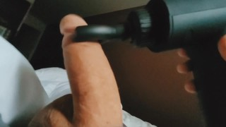 Experimenting with Massager, Edging cock for hours,Loud Orgasm Cums Soft, Must see.