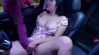 Stranger finds me touching me horny pussy in my Car and I let him help me squirt