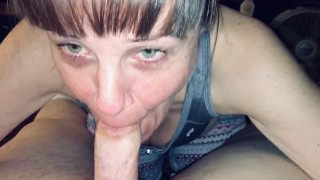 Friends Mom love's sucking my young cock dry and showing me her cum mouth