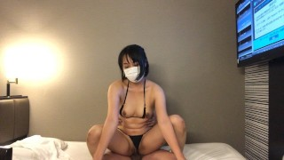 Close contact oil massage of micro bikini beauty and cream pie SEX