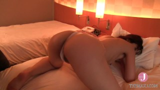 Kinky Japanese milf in pink lingerie loves to get her perfect ass slapped