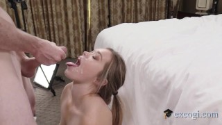 Cute Spunked Coed Kate Cum Covered For 1st Time Ever All On Her Sweet Face!