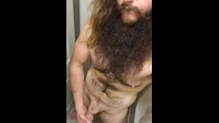 Giant Viking Bear stroking his big cock before a shower pt.1