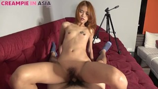 Asian girl barebacked and creampied