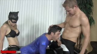 Catwoman makes Superman suck cock and fucks his ass with big strapon