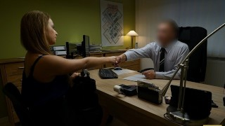 LOAN4K. naive chick gets fucked on the desk in the office