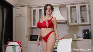 Jenny Oops gets striptease in red lingerie to greet you happy holidays