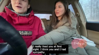 Sity chick sucked in a car by a country boy / creampie, plot