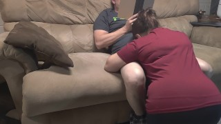 Bored stepmom decides to suck stepsons cock while he's reading.