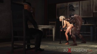 3d cucold and fuck machine. A horny blone and black big cock