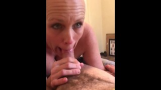 Busty blonde gives quick sloppy blowjob
