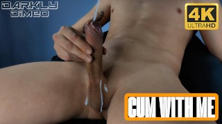Horny guy wanking big dick sitting in a chair moaning with pleasure. - Darkly Dimeo - 4K