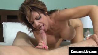 Big Boobed Cougar Deauxma Milks A Young Dick Full Of Cum!