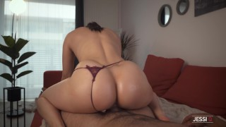 Don't cum as I grind my pussy on your cock and then I ride it hard with my big ass - Jessi Q