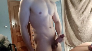 hot guy jerks off until he cums exploding with pleasure and moaning loud