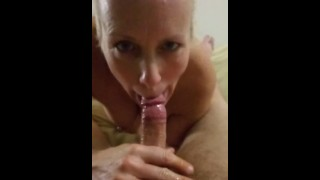Late night house wife blowjob and oily handjob and swollows cum