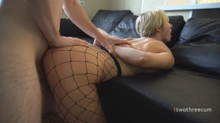 Her ass in fishnets is superb! I want to cover it with sperm