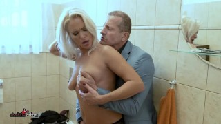 Blonde cougar MILF gets a dirty FUCK with a hard cock IN THE BATHROOM!