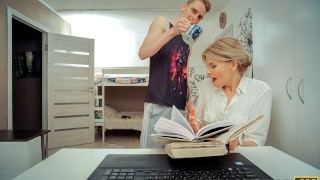 TUTOR4K. Lucky fellow manages to fuck gorgeous lady who is his tutor