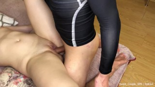 Lick pussy, then fuck and cum on her tummy young student
