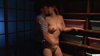 Cheating Japanese wife Chisato Shouda outdoor bathhouse