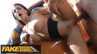 Fake Driving School Spanish Babe has Lesson Hijacked by FakeTaxi driver