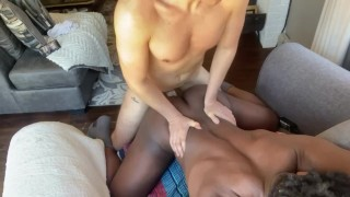 White Jock Enjoys Pounding Black Juicy Bubble Butt & Cumming All Over Him