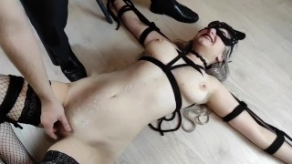 Kinky couple torments a sub girl with hot wax and clothespins