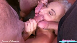 Triple Facial MILF- Joanna Meadows- NaughtyJoJo - Blowbang  and 3 facial cumshots - Cumwhore